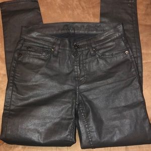 7 for all mankind black pleather skinny jean